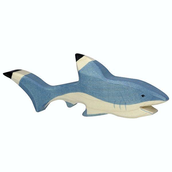 Holztiger Spielfigur Hai