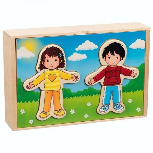Anziehpuppenpuzzle Junge und Mädchen, 36 Teile im Holzkasten