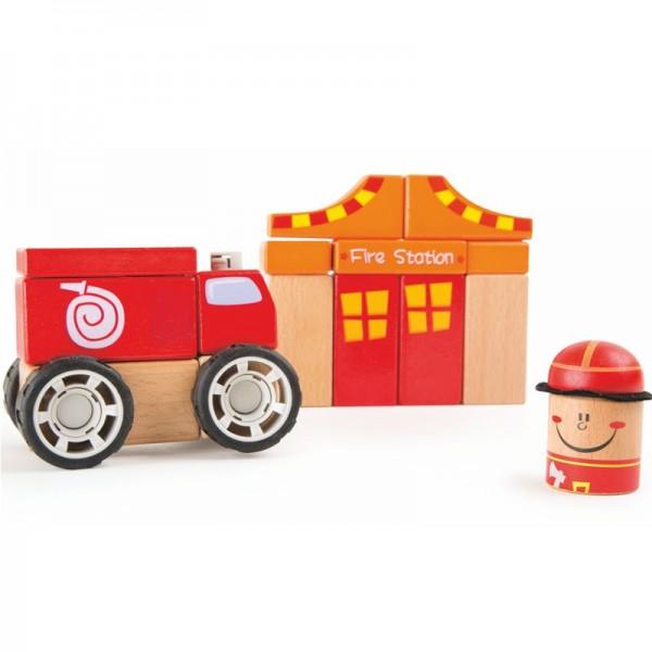 Holzbausatz Feuerwehr, Holzbausteine mit Klicksystem