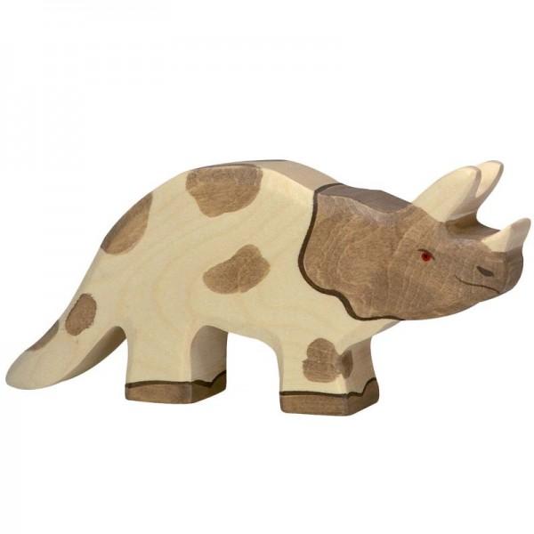 Holztiger Spielfigur Dinosaurier Triceratops