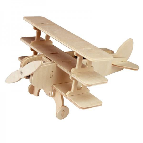 Solarbausatz Holzbausatz Flugzeug Dreidecker, mit Solarzelle und Motor
