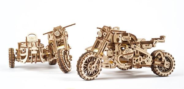 Ugears Holzbausatz Motorrad Scrambler UGR-10, mit Seitenwagen und mechanischer Funktion, lasercut
