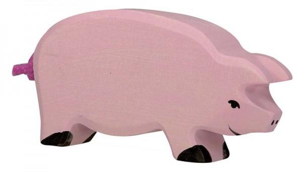 Holztiger Spielfigur Schwein