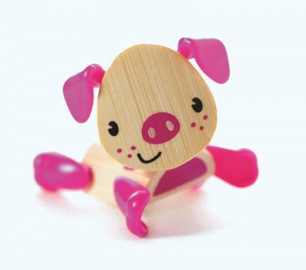 Tierfigur Schwein, aus Bambus und Kunststoff