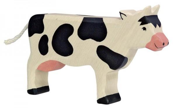 Holztiger Spielfigur Kuh, stehend, schwarz