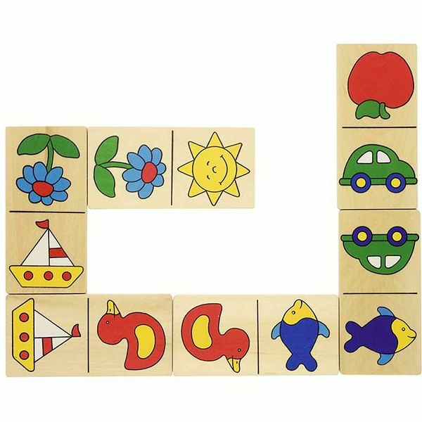 Dominospiel in kindgerechtem Design, im Holzkasten