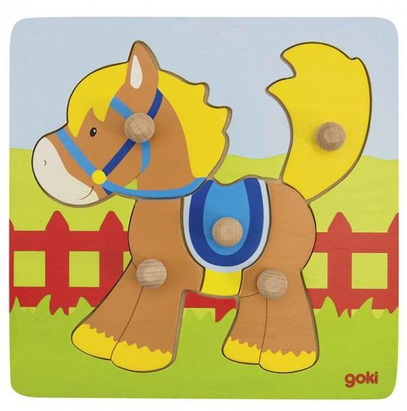 Goki Steckpuzzle Pferd, 5-teilig, Holz