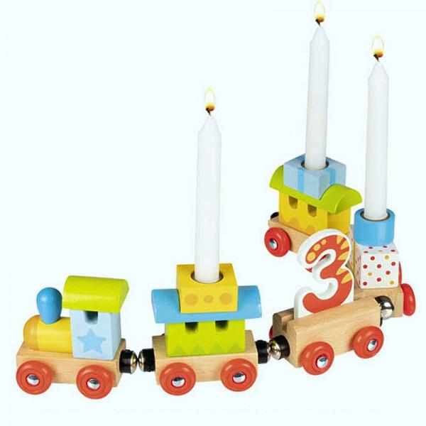 Geburtstagszug, Lok mit 4 Anhängern mit Magnetverbindung, aus Holz
