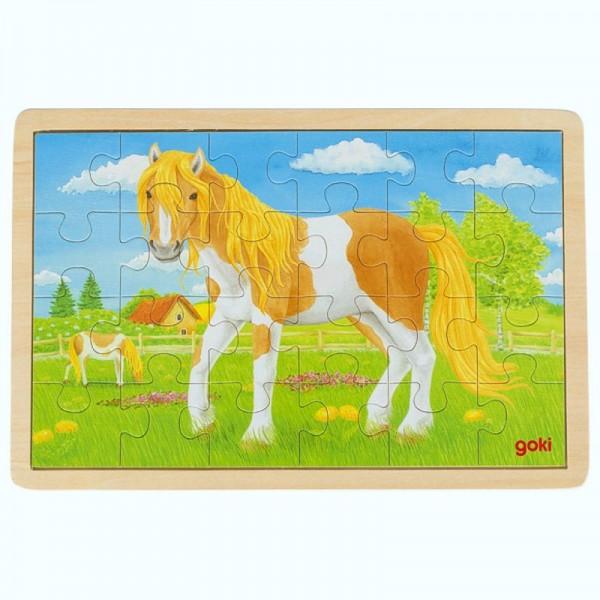 Einlegepuzzle Sommer auf der Pferdewiese, aus Holz