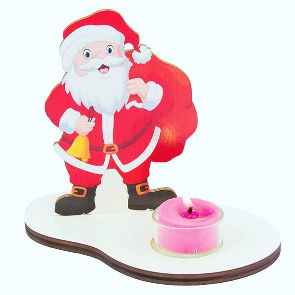 Weihnachtsdeko Nikolaus mit Teelicht