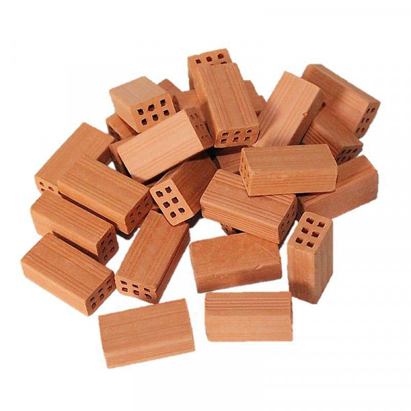 Miniaturziegel, Mauersteine aus Ton, M 1:10, 100 Stück