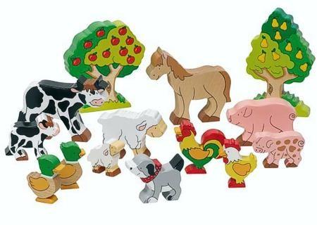 Goki Bauernhoftiere, 14 Teile aus Holz