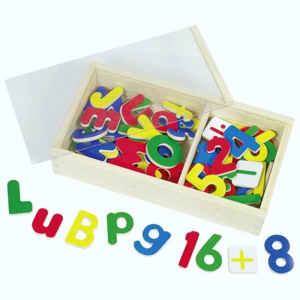 Holz-Magnet-Alphabet und Zahlen, 90 Teile mit Holzschuber