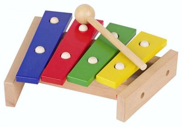 Xylophon mit 4-farbigen Tonplatten aus Holz