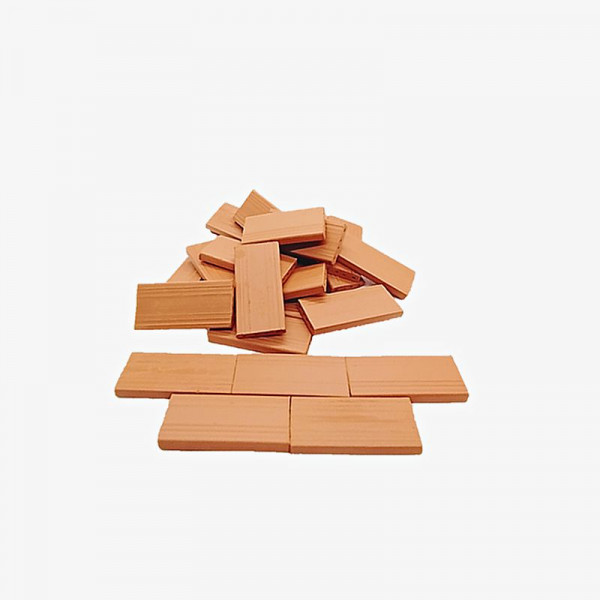 Bodenplatten, Dachplatten, Treppenstufen, 25 Stk. Miniaturziegel aus Ton