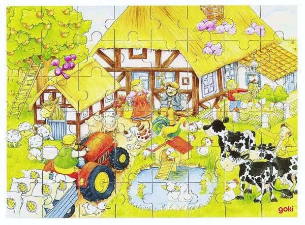 Puzzle aus Holz, Oma's und Opa's Bauernhof, Holz, 48 Teile aus Holz