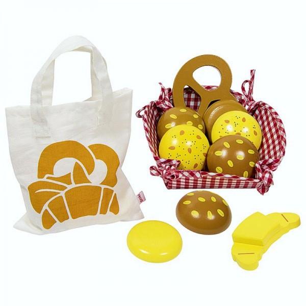 Backwaren im Frühstückskörbchen, inklusive Einkaufstasche aus Baumwolle