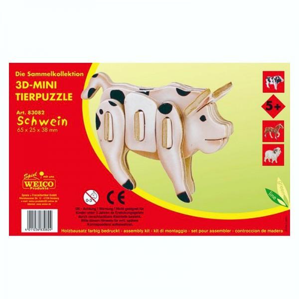 Holzbausatz 3D-Puzzle Schwein, bunt bedruckt