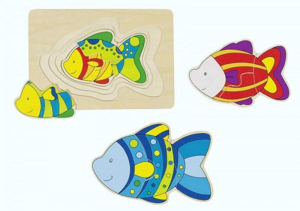 Schichtenpuzzle Fisch, mit 4 Puzzlelagen, Holz