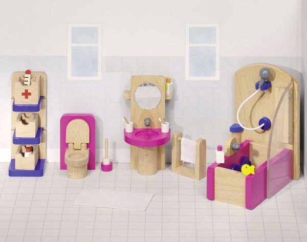Puppenmöbel, Badezimmer, 22 teilig aus Holz