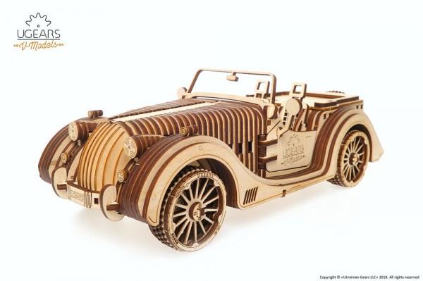 Ugears Roadster VM-01, mechanischer Fahrzeugbausatz aus Holz