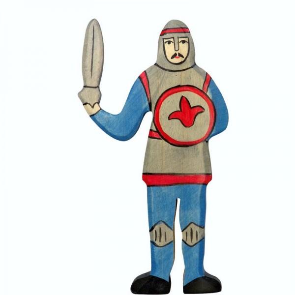 Holztiger Spielfigur Ritter, kämpfend, blau