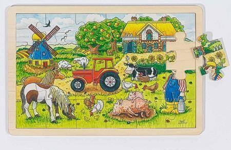 Goki Einlegepuzzle Müllers Farm, Holz