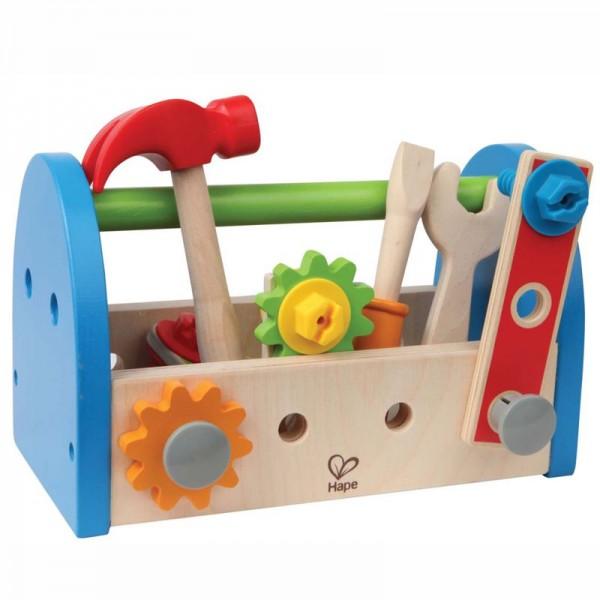 Werkzeugkasten mit Zubehör, 14 Teile, Holz und Kunststoff