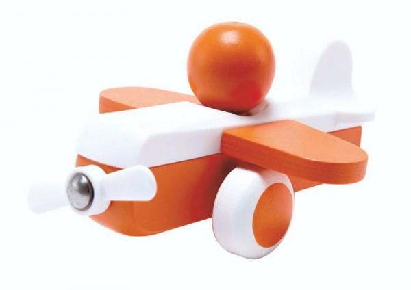Oranger Himmelsflieger, Spielzeugflugzeug aus Holz und Kunststoff, ab 12 Monate