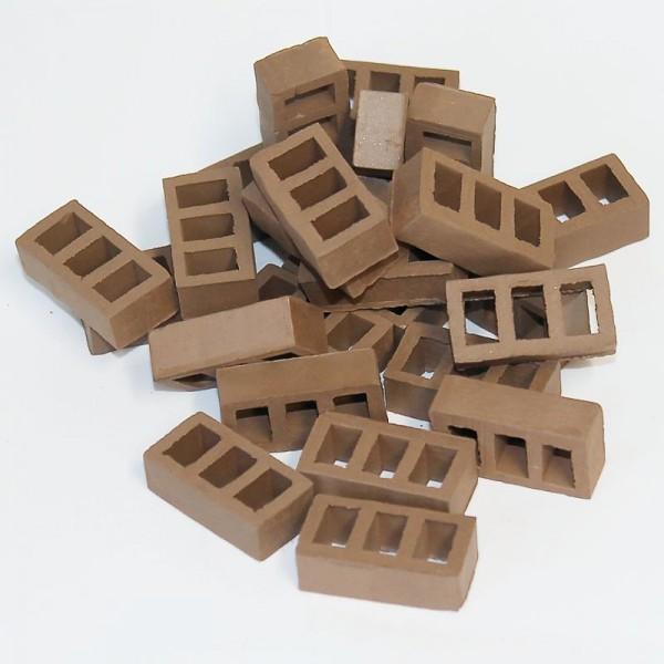 Miniaturziegel, Mauerstein Hohlblockstein, Ton, dunkelbraun, 25 Stk.