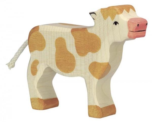 Holztiger Spielfigur Kalb, stehend, braun
