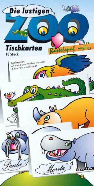 Bastelbogen Zoo Tischkarten, 10 Stück