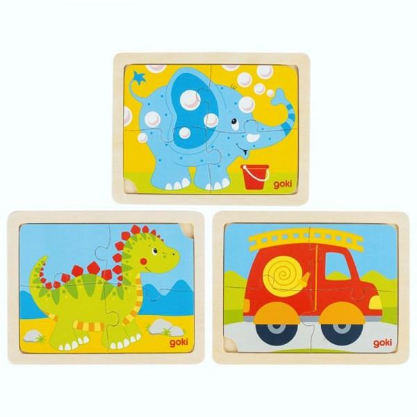 Einlegepuzzle aus Holz, Dino, Feuerwehr und Elefant im dreier Set