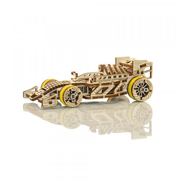 Wooden City 3D Holzbausatz Bolid Rennwagen, mit mechanischer Funktion