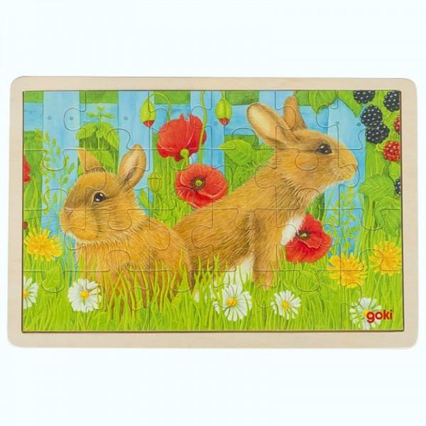 Einlegepuzzle Unsere Kaninchen im Garten, aus Holz