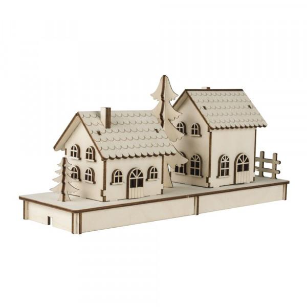 Holzbausatz für 2 Häuschen, lasercut, 52 Teile