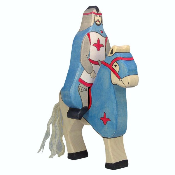 Holztiger Spielfigur, Blauer Ritter mit Mantel, reitend (ohne Pferd)