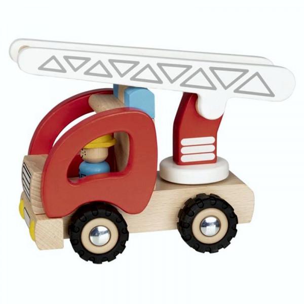 Goki Holzspielzeugauto Feuerwehr Leiterwagen