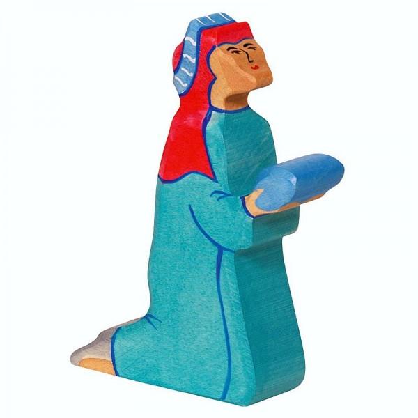 Holztiger Krippenfigur Balthasar 2, blau
