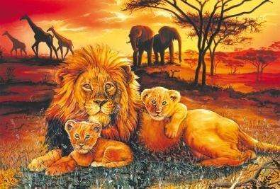 Löwenfamilie 100 Teile Puzzle