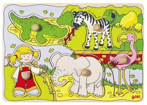 Steckpuzzle Im Zoo, 5-teilig, Holz