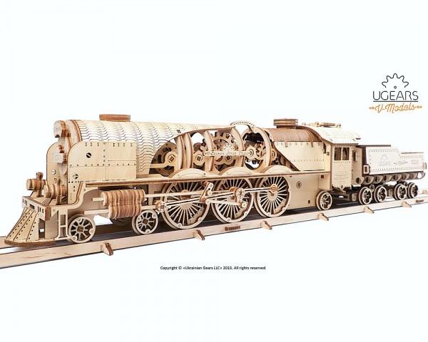 Ugears mechanischer Holzbausatz V-Express Lokomotive mit Tender
