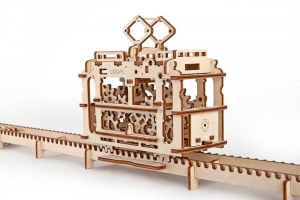 Ugears 3 D Holzbausatz Straßenbahn, mit mechanischer Funktion, lasercut