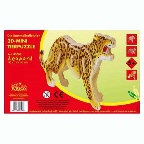 Holzbausatz 3D-Puzzle Leopard, bunt bedruckt