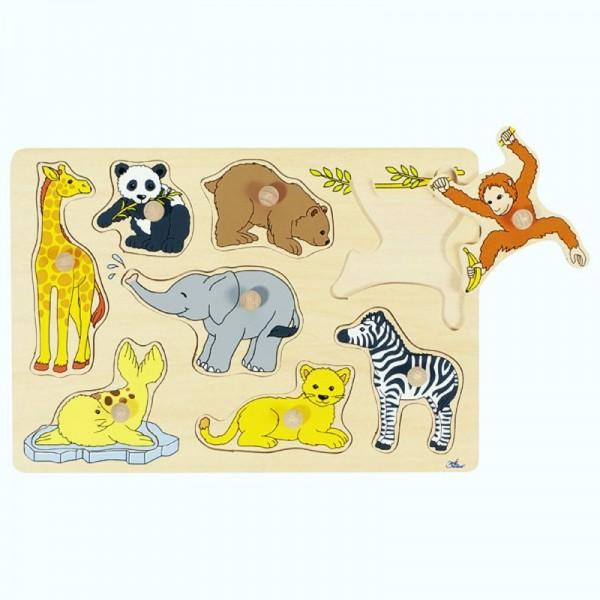 Steckpuzzle Tierkinder, 8 Teile aus Holz