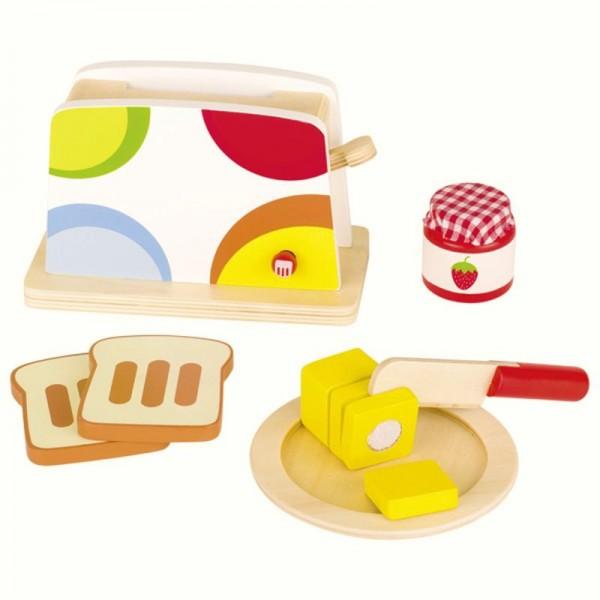 Toaster für die Kinderküche, aus Holz, mit Zubehör