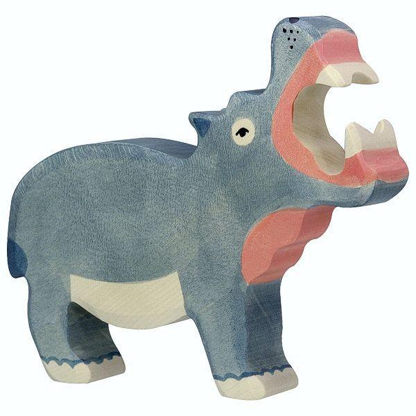 Holztiger Spielfigur, Nilpferd groß, aus Holz