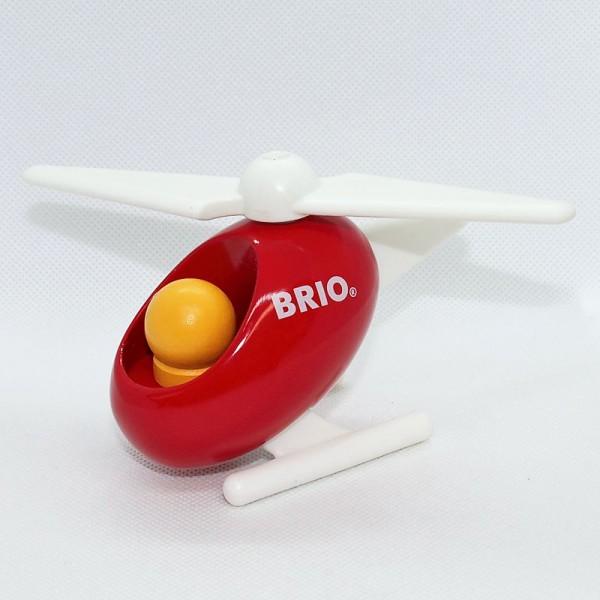 roter Hubschrauber aus Holz