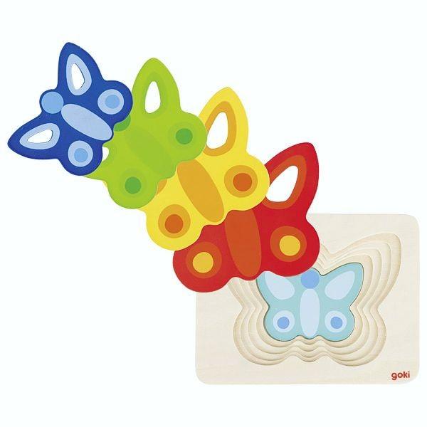 Schichtenpuzzle Schmetterling II, Holz, 5 Schichten, 5 Teile