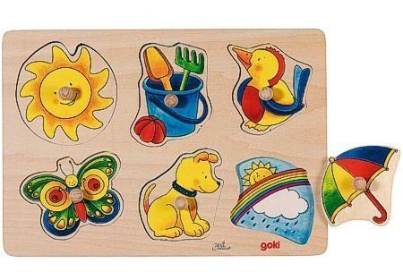 Goki Steckpuzzle aus Holz, Sonne und Mond